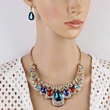 Women Luxury Rhinestone Necklace Earring Set for Bridesmaid Wedding Bridal Jewellery