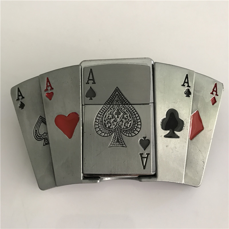 New Style Poker A kerosene lighter Belt Buckle 110*64mm 163.1g Silver Color Metal For 4cm Wide Belt cool Men Jeans accessories