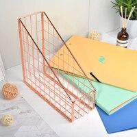 Scandinavian Rose Gold Metal Storage Basket Nordic A4 Paper Book Magazine Iron Rack Home Office Desk Finishing Organizer Basket