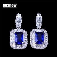 OUSNOW Zircon Austrian Crystal Blue Square Crystal Jewelry Luxury Cubic Zircon Drop Earrings for Women's Party Gifts