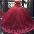 2017 Borgoña vestido de Bola Vestidos de Novia Corto de Encaje Correas Del Hombro Princesa Vestido de Novia Más Tamaño vestidos de novia