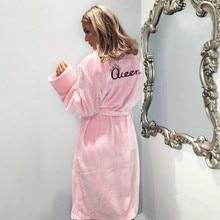 Winter Warm Flannel Bathrobe Women Knee-Length Bath Robe Soft Thick Cute Pink Br