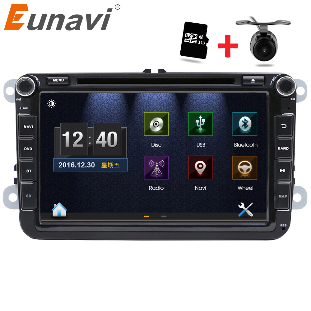 Eunavi 2 Din 8 inch car dvd for VW POLO GOLF MK5 MK6 PASSAT B6 JETTA TOURAN TIGUAN With GPS Navigation Radio SWC Bluetooth ljhang 7 inch 2 din advanced car dvd gps navigation for vw b6 passat jetta touran sagitar golf radio auto audio headunit stereo