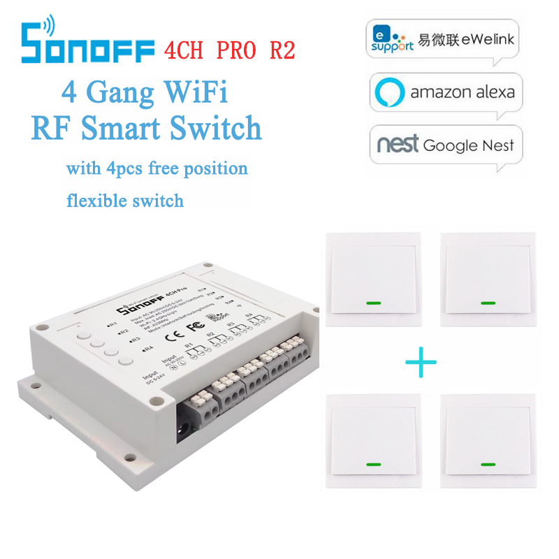 Sonoff 4CH Pro R2 4 Channel WiFi RF Smart ON/OFF Remote Switch Inching/Self-Locking/Interlock/ with free Wall Switch sticker nylon pa66 12a door interlock switch black 5v 50 piece pack