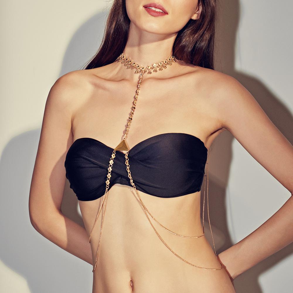 Fashion Sexy Body Chain Women Vintage Ethnic Style Clothing Simple Geometric Tassel