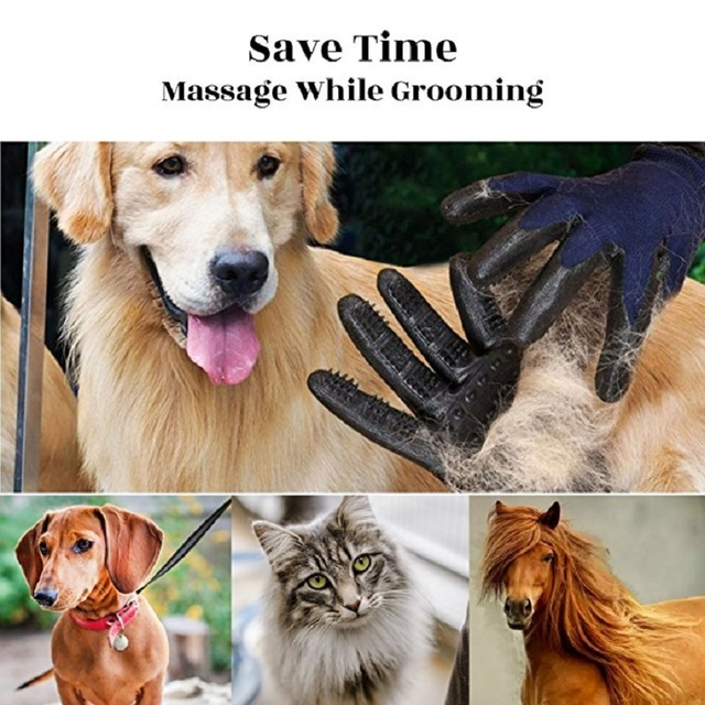 1 Pair Grooming Glove for Cats Soft Rubber Pet Hair Remover Dog Horse Cat Shedding Bathing Massage Brush Clean Comb for Animals 6