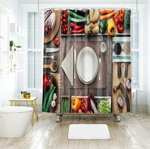 Vegetable and Fruit Tableware 3d Cherry Shower Curtains Beauty Bathroom Curtain Thicken Waterproof Thickened Bath