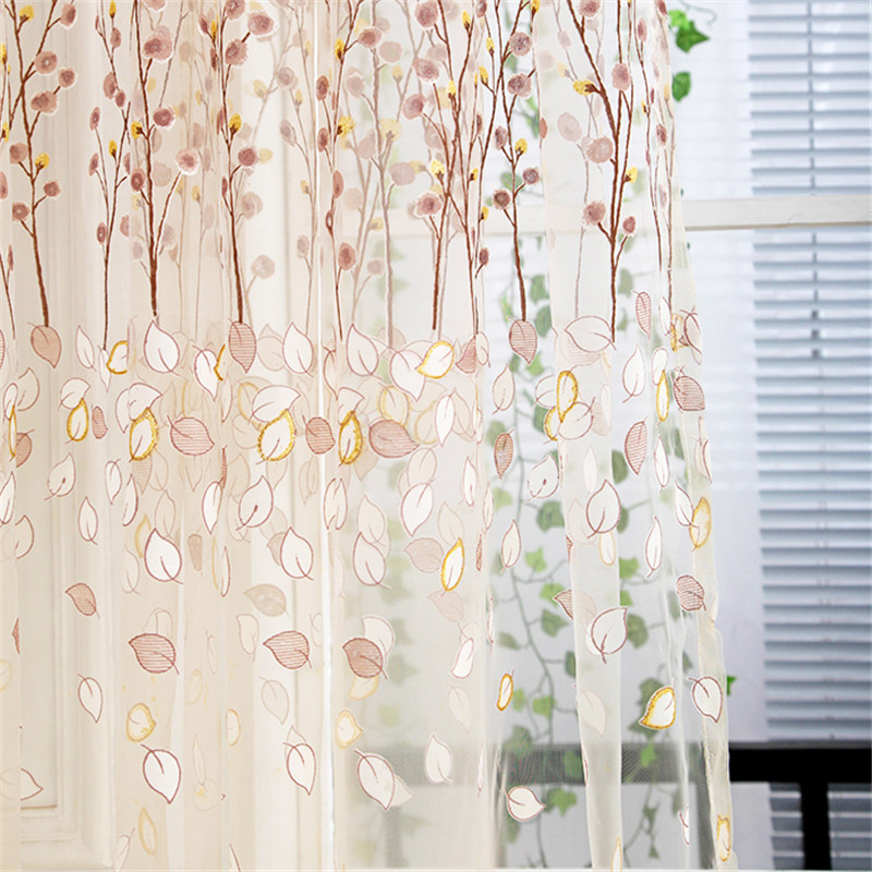 Wintersweet Flower Printed Tulle Window Screening Sheer