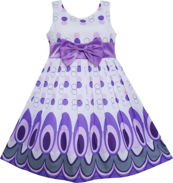 Sunny Fashion Vestidos niña Peacock Tail Dot Morado Fiesta