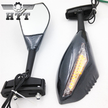 Aftermarket free shipping motorcycle parts LED Turn Signal Integrated Mirrors for Yamaha FZR600 FZ1 FZR  Ducati CARBON CLEAR