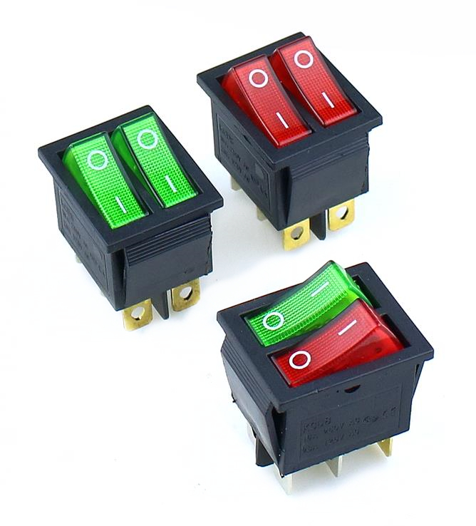 KCD8 6PIN  Rocker Switch Power Switch Duplex  ON-OFF 2Position 6 Pins With Light 16A 250VAC/ 20A 125VAC