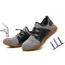 2019 Anti-mite Breathable Mesh Work Shoes Men's Anti-smashing Anti-piercing Safety Shoes Non-slip Wear-resistant Steel Toe Caps(China)