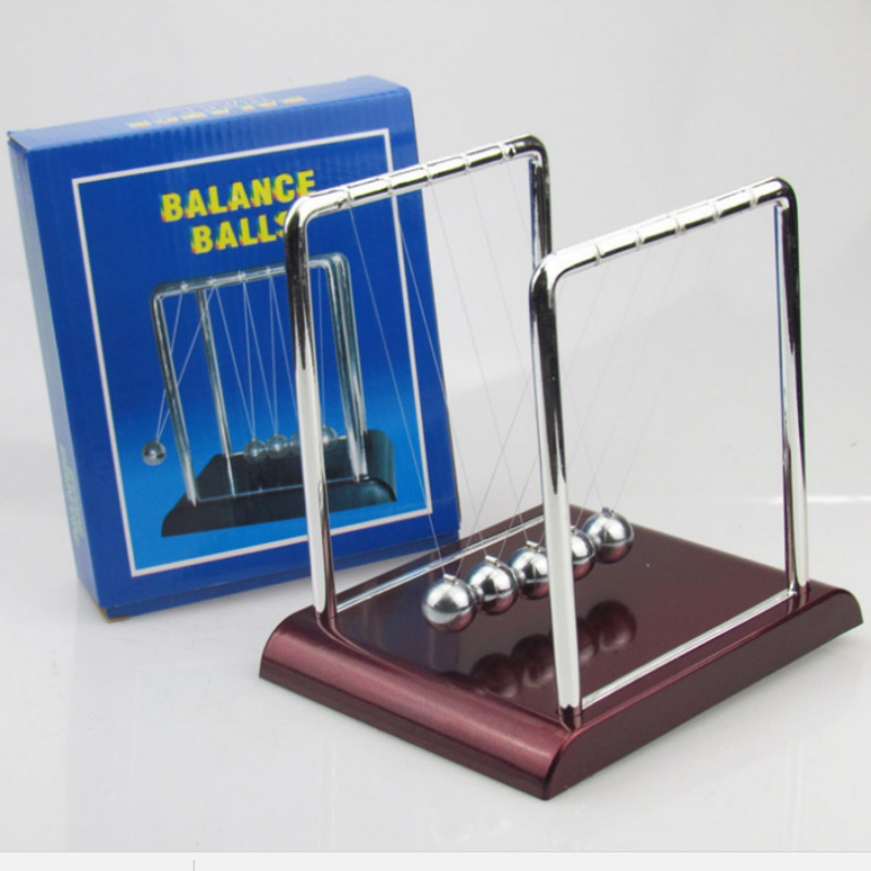 PHYSICS SCIENCE PENDULUM FUN DESK TOY NEWTONS CRADLE STEEL BALANCE BALLS DECOR
