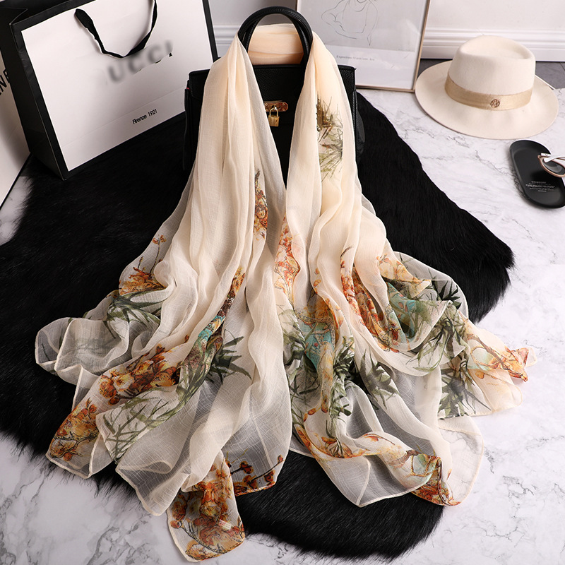 2020 Designer Brand Women Scarf Fashion Print Silk Scarves Floral Summer Beach Stoles Sunscreen Shawls And Wraps Pashmina