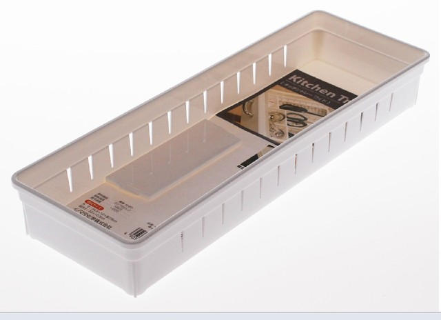 An Plastic Kitchen Cabinet Drawer Cutlery Fork Knife Bathroom Cosmetic Organizer Storage Box White L