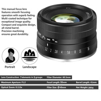 Newest Camera lens 35mm F1.2 Manual Focus Lens Metal Casing Durable Lighweight Lens for Fuji X