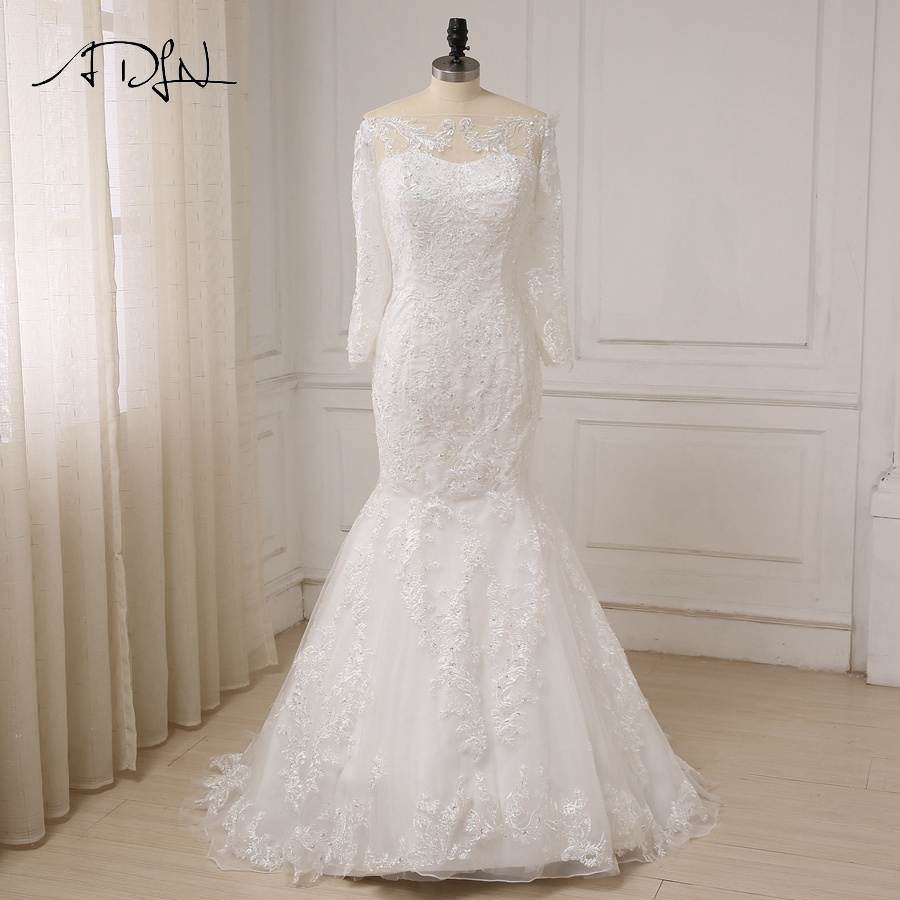 ADLN New Ivory Long Sleeves Wedding Dresses Sexy Boat Neck Applique Beads Tulle Mermaid Wedding Gowns Robe De Mariage