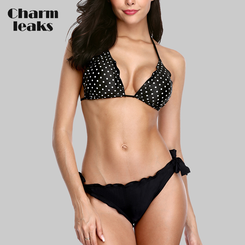 Charmleaks Women Low Waist Bikini Set Vintage Polka Dot  Print Swimwear Bandage Swimsuit Laciness Bathing Suit Beachwear