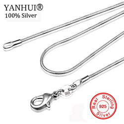 Long 16-28inch (40-80cm) 100% Authentic Solid 925 Sterling Silver Chokers Necklaces 1mm Snake Chains Necklace for Women YDHX01
