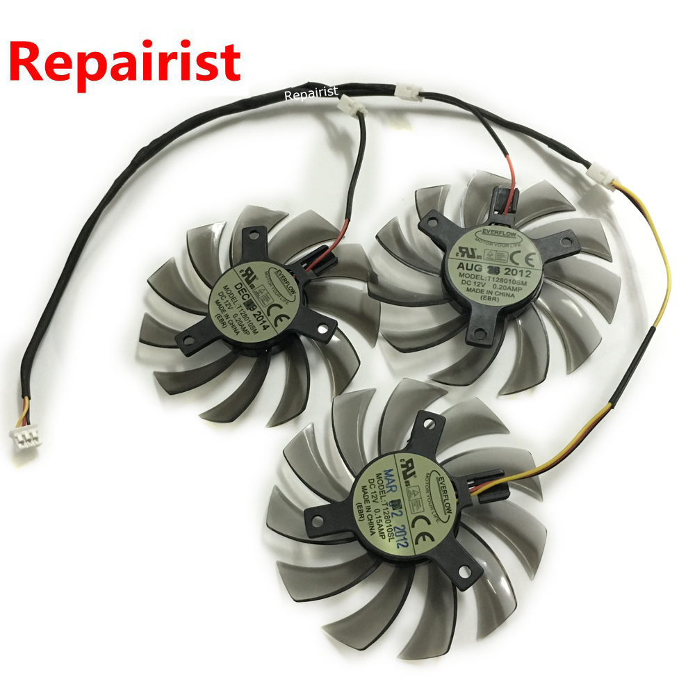 3Pcs/lot R9 280X GPU Cooler 3Pin Graphics Card Fan For Gigabyte R9-280X GV-R928XWF3-3GD GV-R928XOC Card as Replacement new original graphics card cooling fan for gigabyte gtx770 4gb gv n770oc 4gb 6 heat pipe copper base