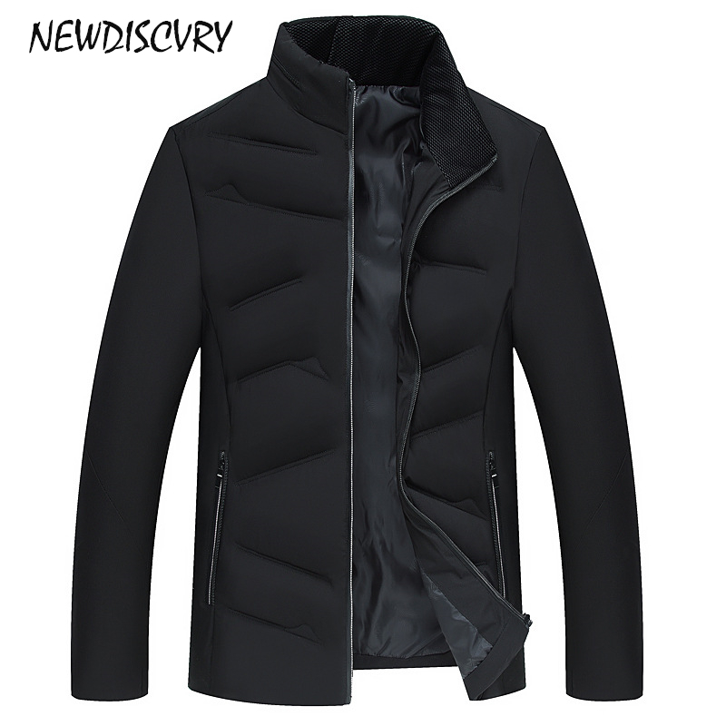NEWDISCVRY Mens Cotton-padded Jacket 2018 Fashion Thicken Warm Stand Collar Men Coats Man Winter   Parka   Casual Clothes Outwear