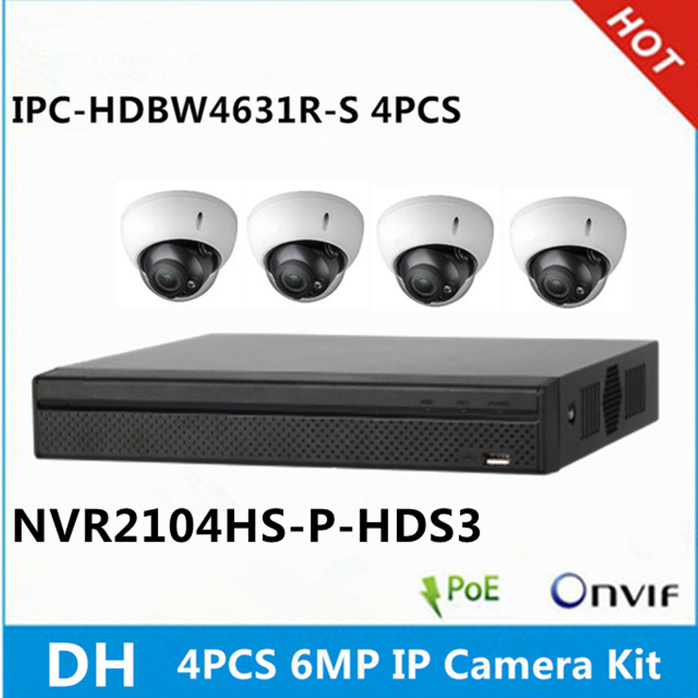 DH 4 pcs IPC HDBW4631R S 6MP IP Camera NVR2104HS P HDS3 4ch with 4poe ports