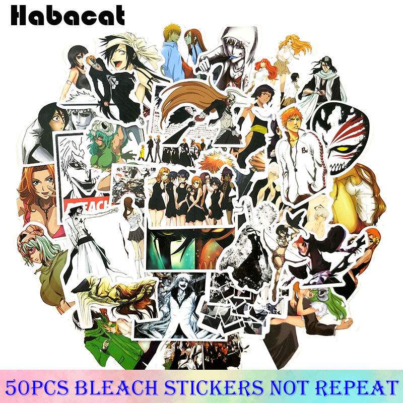 50 Pcs/pack JUMP COMICS Series BLEACH Stickers For Motorcycle Skateboard Laptop Bicycle  Decoration PVC Waterproof Anime Sticker