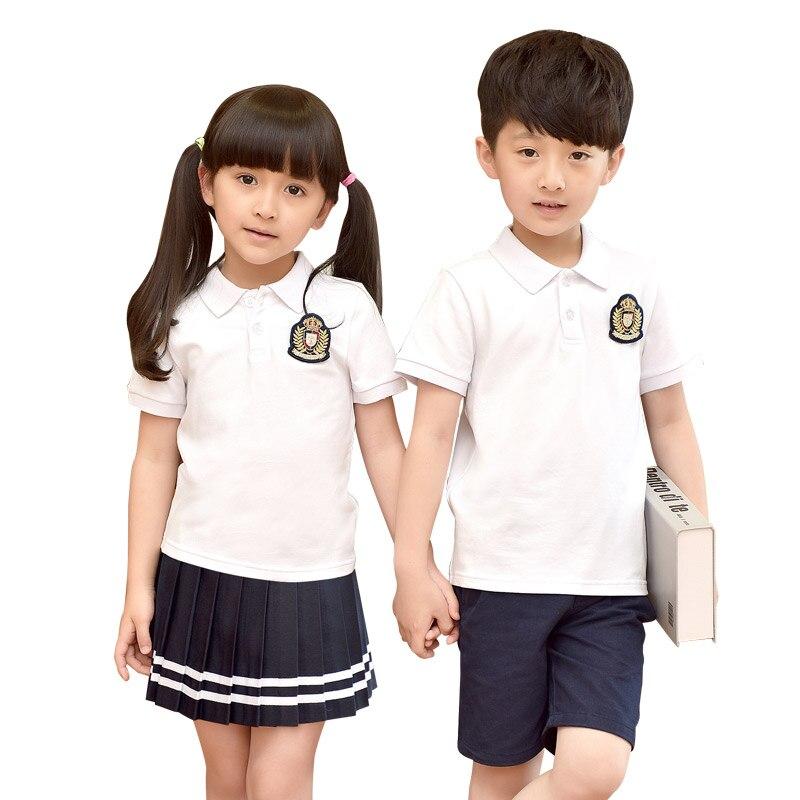 Children Cotton Fashion Student School Uniforms Set Suit Girls Boys Short Cotton Shirt Skirt Shorts Pants Tie Set Uniforms 2-10T