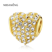 Authentic 925 Sterling Silver Bead Golden Love With Crystal European Beads Charms Fit Pandora Bracelets DIY Jewelry