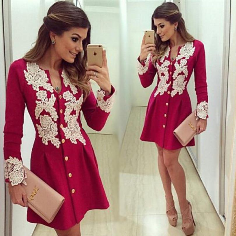 Women Hot Pink Vintage Short Dress Autumn Elegant Casual A Line Slim Long Sleeves Appliqued Lace Dresses Ropa Mujer Vestidos