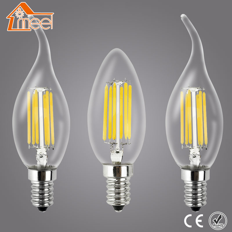 Dimmable LED Filament Candle Light Bulb E14 220V 240V 2W 4W 6W C35/C35L Vintage Edison Bulb for Chandelier Cold/Warm White 4pcs candle e14 edison led filament bulb c35 vintage spiral lamp warm 2200k soft flexible filament cob led bulb gold tint