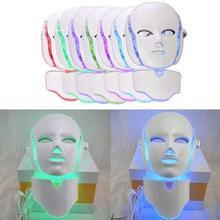 7Colors 3D LED Facial Mask Electric Smooth Wrinkle Shrink Pores Face Neck Skin Care Skin Whitening Massager Electric Cosmetic B4
