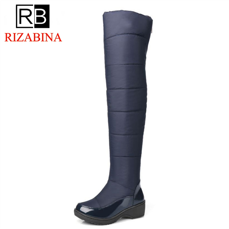 RizaBina New Women's Over Knee High Winter Boots Female Rubber Sole Warm Fur Shoes Outdoor Dress Platform Snow Boots Size 35-40 цена