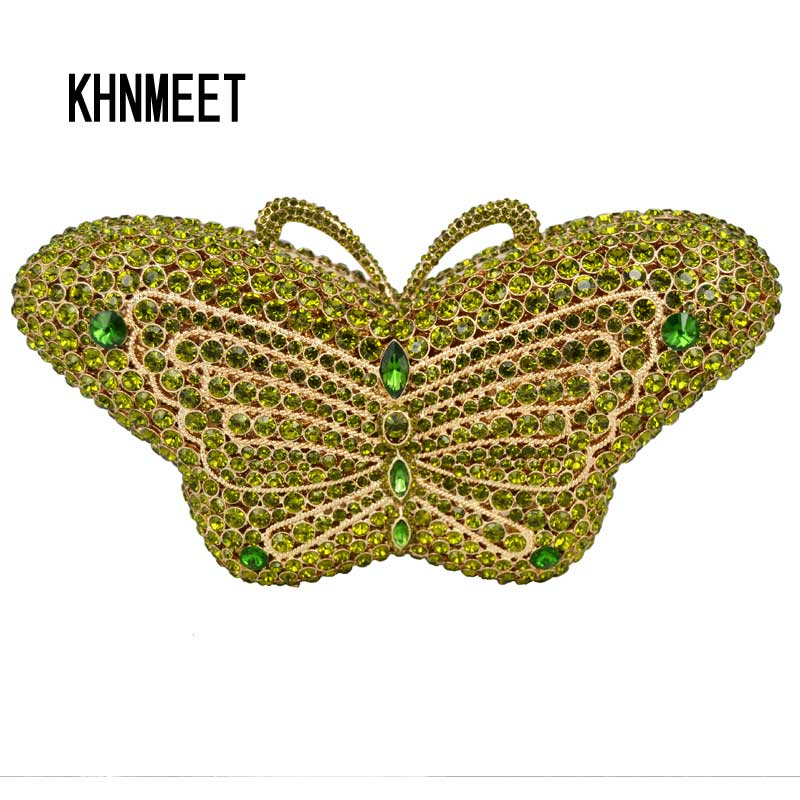 Emerald butterfly lovely Clutch Bag Diamond Green Cocktail Party Purse Ladies Prom Evening bag Women Handbag Banquet bag sc457-B lovely orange luxury sparkly crystal stones evening bag unique diamond banquet party prom handbag women wedding clutch bag 88272