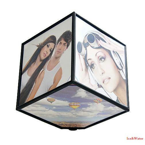 Creative Six-sided Photo Frame/personality Cube Electric 360-degree Three-dimensional Rotating Frame KK111
