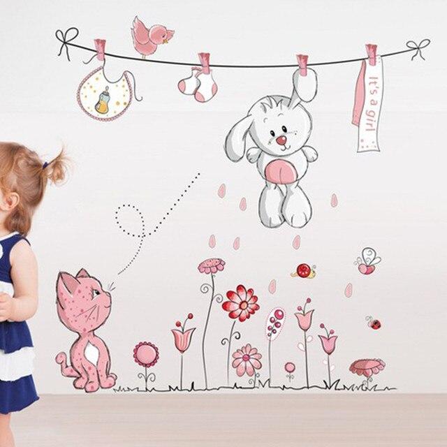 Повесить одежду милый кролик кот съемный детского сада детского сада дети ребенок ребенок номер домашнего декора росписи наклейки наклейка на стену