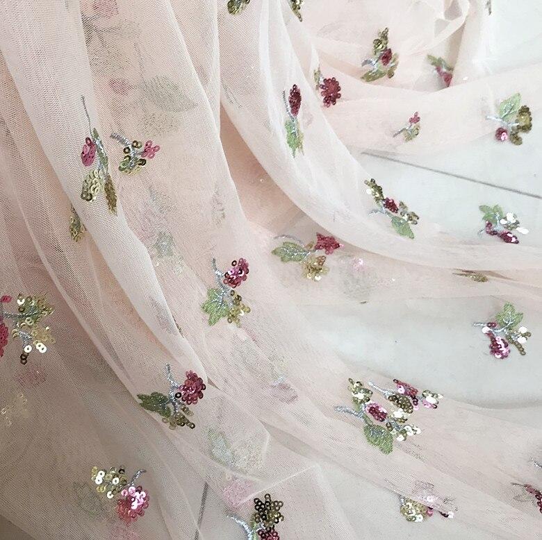 Ev ve Bahçe'ten Kumaş'de 5 yards/lot Pembe Pullu Tül Nakış Dantel Kumaş, dikiş el sanatları aksesuarları için Düğün, Couture Kumaş, çiçek Kız Elbise'da  Grup 1