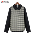 2015 New Arrival Fall Brand Design Fashion Slim Long Sleeve Button Office Lady Black White Turn Down Collar Houndstooth Blouse