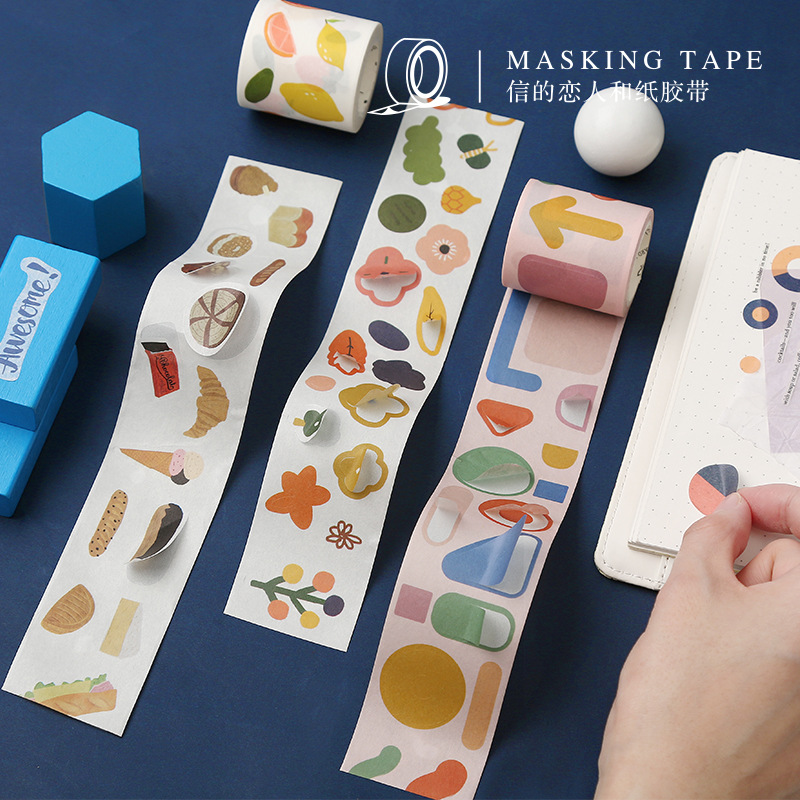 40 Cm Wide Fun Geometry Flowers Washi Tape Adhesive Tape Diy Scrapbooking Sticker Label Masking Tape