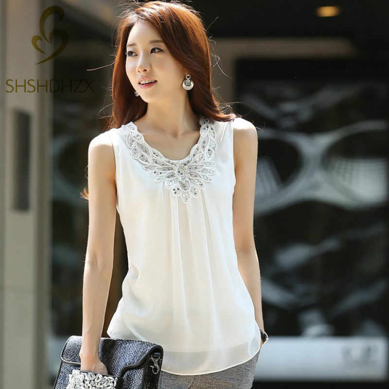 Korean Fashion Clothing New Women Chiffon Blouse Fold Sleeveless White Shirt Office Blouse For Work Plus Size S-6XL