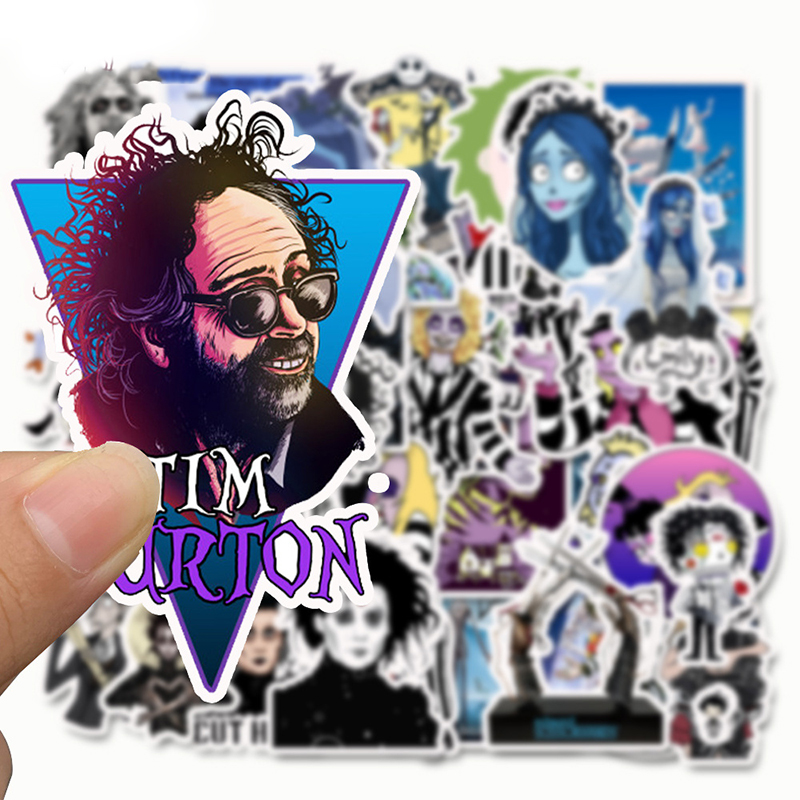 Image 4 - 50pcs Stickers Tim Burton Classic Movie Edward Scissorhands Graffiti Sticker For Skateboard Laptop Bicycle Waterproof Decals-in Stickers from Toys & Hobbies