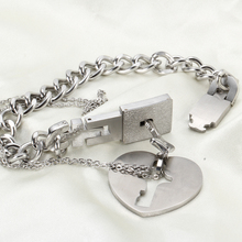 Stainless Steel Love Heart Lock Bracelets Bangles Key Pendant Necklace Couples