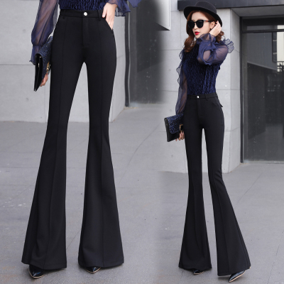 SMTHMA Women Summer Sping Fashion Solid Black Pants Ladies Elegant Bottom Wide Ruffles Trousers S M L XL 2XL Full Length 2