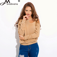 Avodovama M Women O Neck Full Sleeve Casual Fashion Sexy Solid Off Shoulder Shirt New Spring