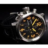 50mm Parnis Big Face black dial orange makrs day date mens quartz WATCH Full chronograph P36