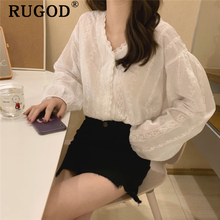 RUGOD Transparent elegant v neck women blouses lace patchwork sweet lolita korean style casual modis femme blusas mujer