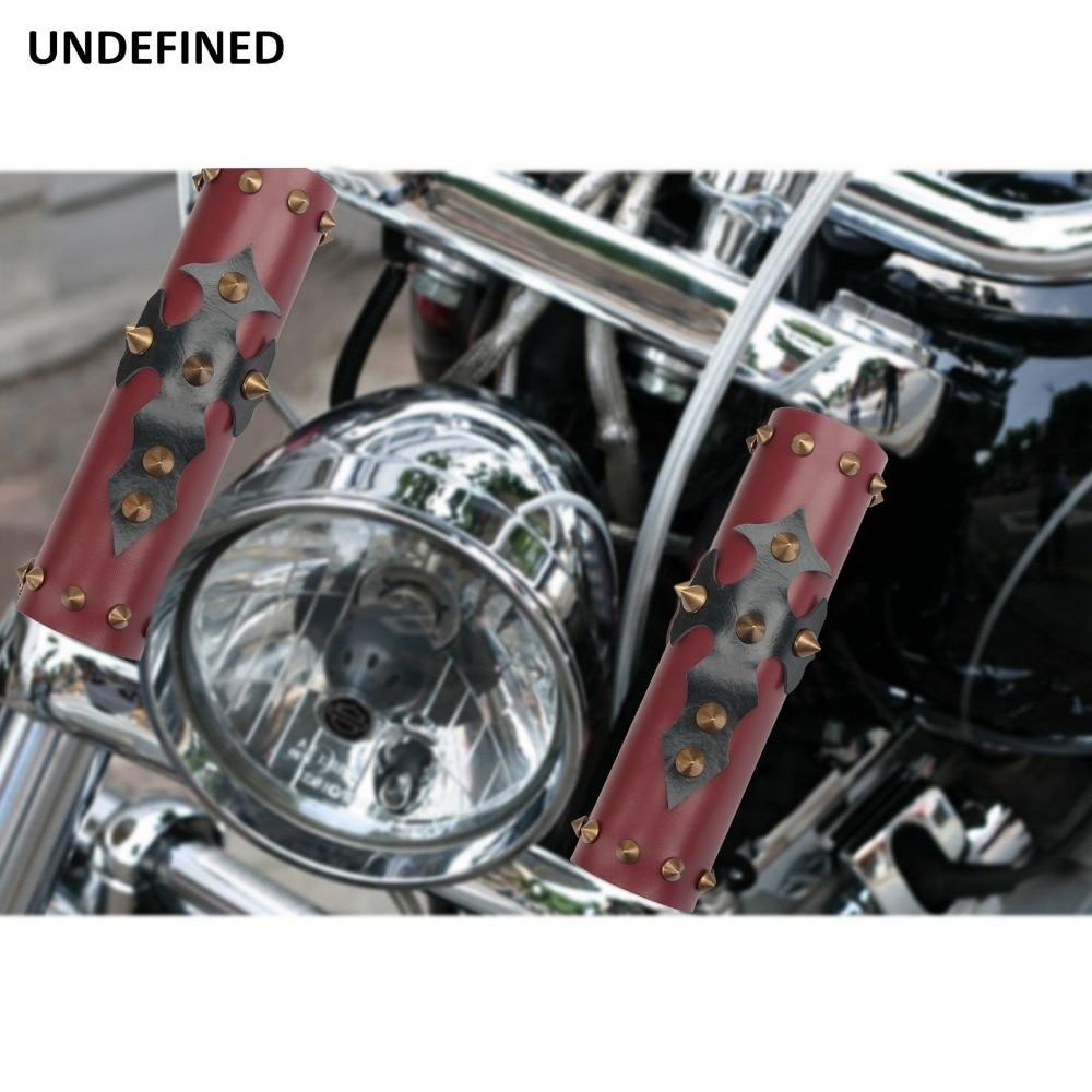 Universale Del Motociclo Anteriore di Protezione Forcella Ammortizzatore Protezione Della Copertura del Cuoio w/Spikes Per Harley Honda Yamaha YZF250 CRF CRF250