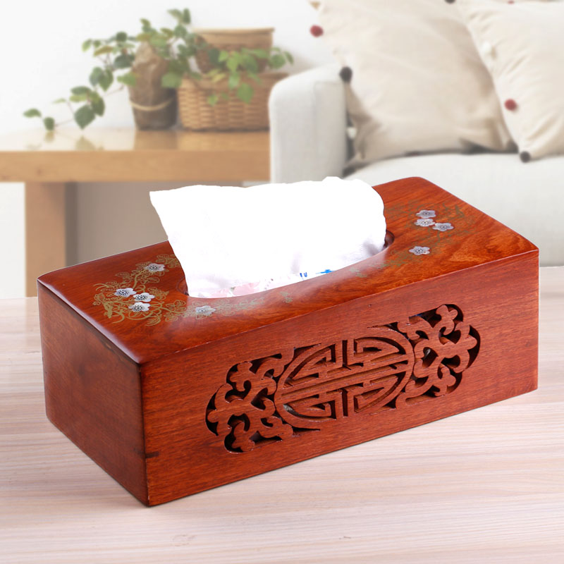 Accusing the import of high grade rosewood mahogany Tissue Box pumping tray hollow shell inlaid flower