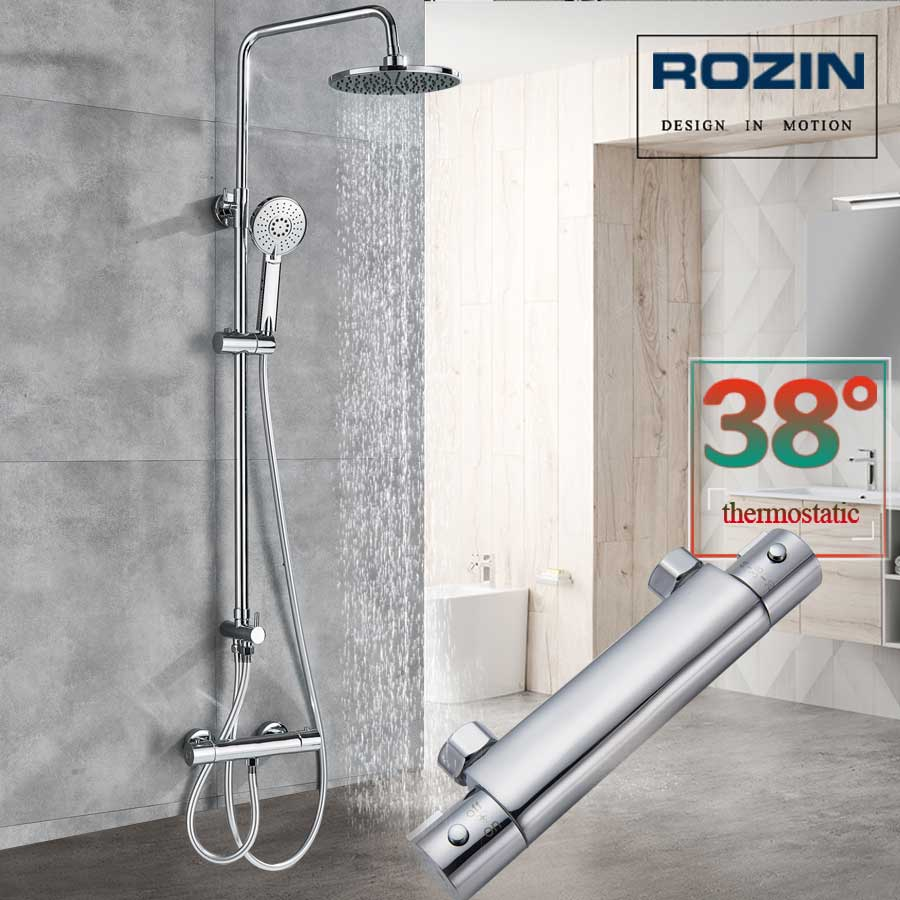 Chrome Bathroom Thermostatic Shower Mixer Faucet Dual Handle Brass Shower Column Rainfall Head and Hand Shower