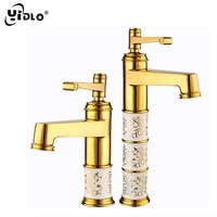 YiDLon New Deck mounted brass and ceramic faucet Bathroom Basin faucet Mixer Tap Gold Sink Faucet Bath Basin Sink Faucet CF2